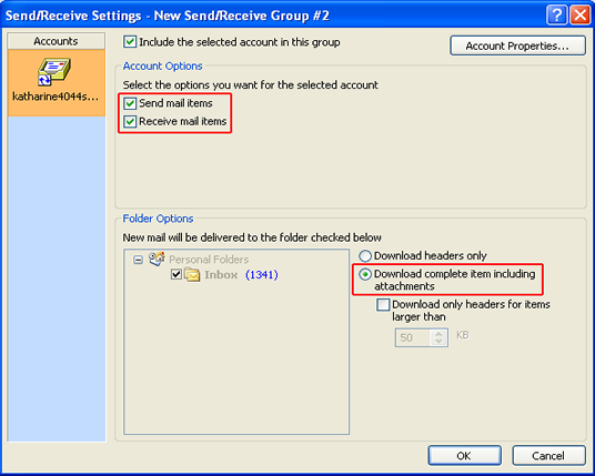 advance options for Outlook accounts