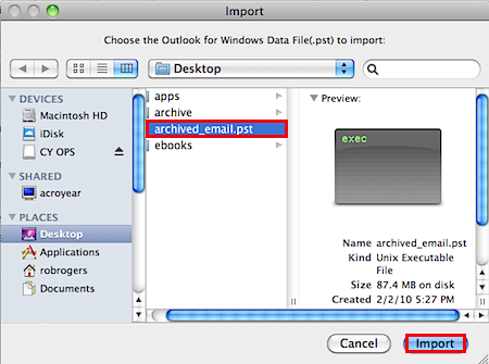allocate path for import