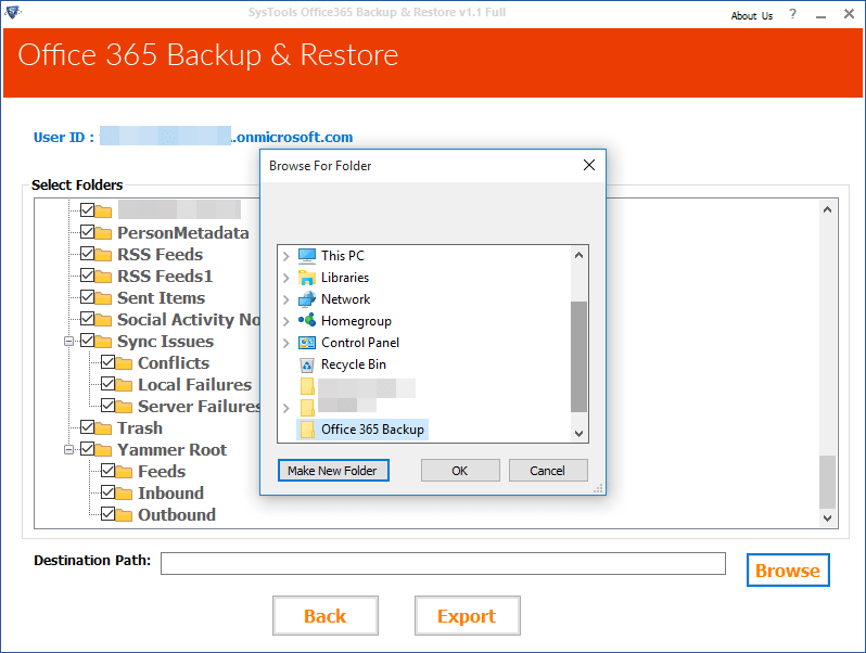 Select the preferred location to save backup file